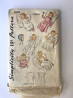 1930s Vintage Simplicity Sewing Pattern, Infants Nightgowns #3506