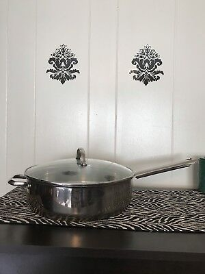 """Leyse Commercial Deep 11.5"""" Saute 18/10 Heavy Duty Stainless Skillet Pan W Lid"""