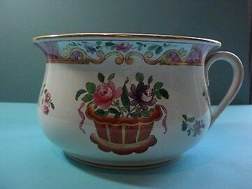 Antique Spode Victorian Floral Chamber Pot 1890s Fancy Pink with Gold Leaf