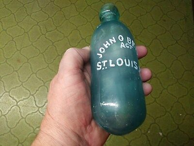 Vintage Aqua John O'Brien Act St Louis Mo Blob Top Round Bottom Soda Bottle