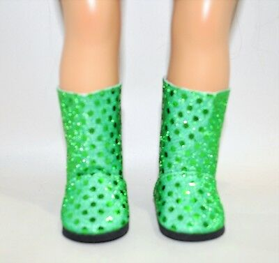 """Our Generation American Girl Doll 18"""" Dolls Clothes Shoes Green Glitter Boots"""
