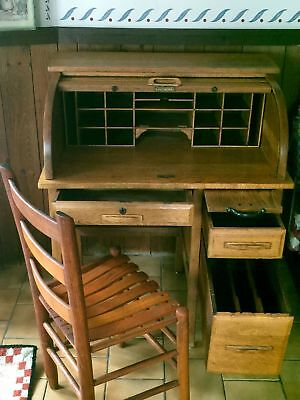 Antique Child' s Oak Roll Top Desk and Chair