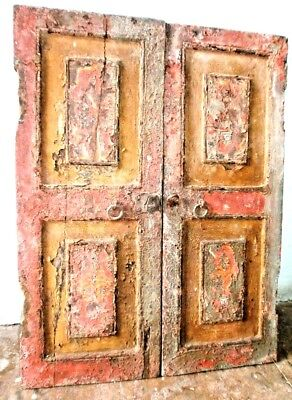 Vintage Wooden Door Double Colored Hand Painted Painting Collectibels Old