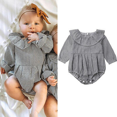 AU Newborn Toddler Baby Girl Long Sleeve Striped Romper Jumpsuit Outfits Clothes