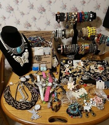"""Huge Lot Of ALL Wearable """"FUN"""" Mixed Vintage To Now Costume Jewelry; 25 Lbs"""