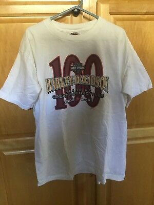 Harley-Davidson Mens XL White T-Shirt 1903-2003 100 Year Anniversary- Milwaukee