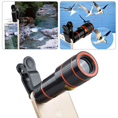 US For iPhone XR 8 7 6 6S 6+ Clip-on 12x Optical Zoom HD Telescope Camera Lens