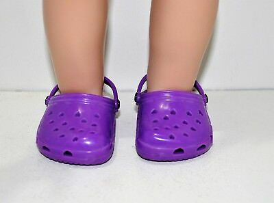 """Our Generation American Girl Doll 18"""" Dolls Clothes Shoes Purple Plastic Clogs"""