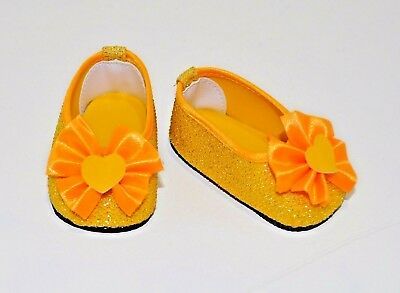 """American Girl Doll Journey Our Generation 18"""" Dolls Clothes Yellow Glitter Shoes"""