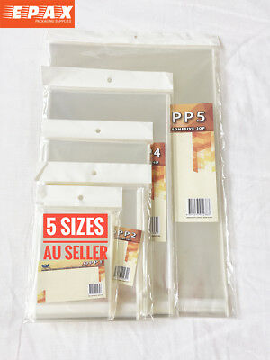 Cellophane Cello Bags Clear Self Adhesive Seal for CARD OZ 5 Sizes GIFT BAG