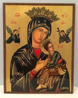 VTG Greek Icon Madonna & Child Gold Detailed Lacquered Plaque Style Wall Hanging