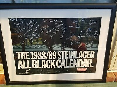 Rare 1988/89 entire All Blacks team coaches and staff signed Stein Lager poster.