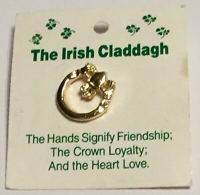 Irish Claddagh Pin Hands Friendship Crown Loyalty Heart Love New