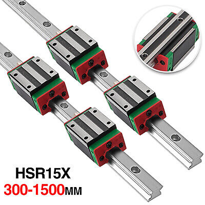 2X HGH15 Linear Guideway Rail Shaft Rod 300-1500 with 4pcs HGH15CA Block Bearing