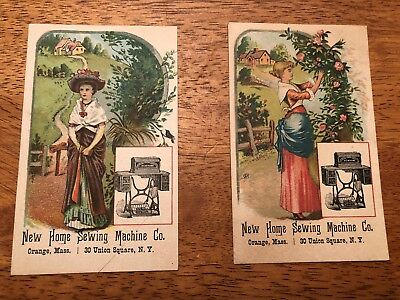 Pair of Advertising Cards for New Home Sewing Machines