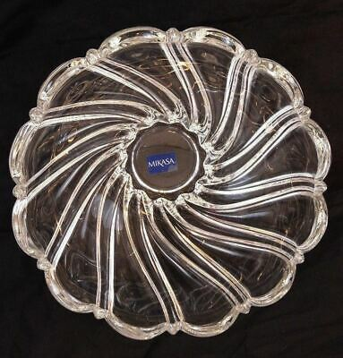 "Mikasa Alpine Twist Serving Bowl Clear Crystal Scalloped Edge 10"" Made Germany"