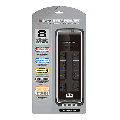 Monster Platinum Surge Protected 8 Outlet Fireproof Power Board