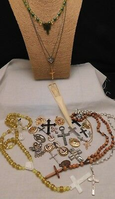 Antique Vintage Estate Rosary Cross Necklace Medals Pin Religious Catholic Lot