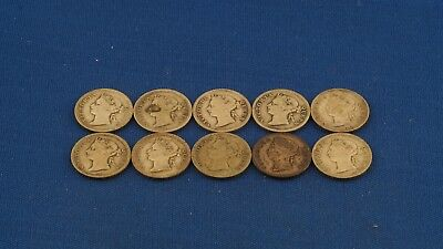 1884-1901 Hong Kong Mixed Lot of Silver 5 Cents Victoria 10 Coins Total