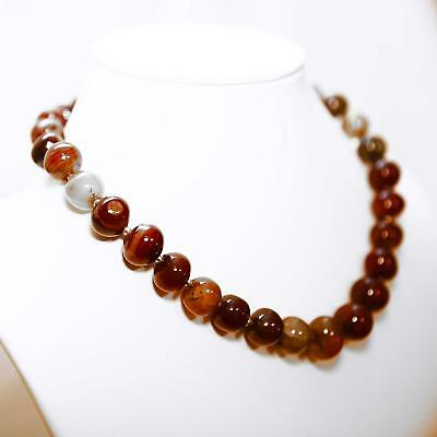 "Natural 19"" Hand-Cut Botswana Agate & Sterling Silver Graduated Beaded Necklace"