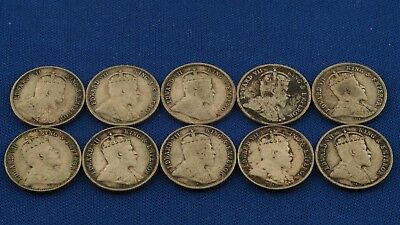 1903-1905 Hong Kong Mixed Lot of Silver 5 Cents Edward VII 10 Coins Total