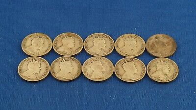 1902-1904 Hong Kong Mixed Lot of Silver 10 Cents Edward VII 10 Coins Total