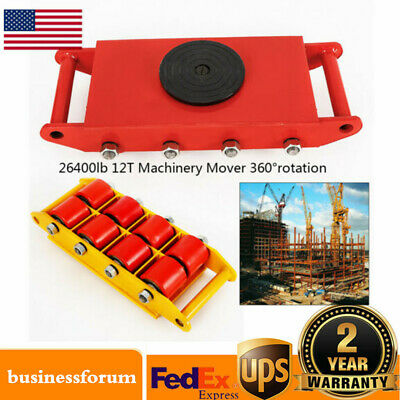 12Ton Heavy Duty Machine Dolly Skate 8-Rollers Machinery Mover 360° Rotation USA