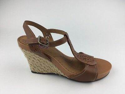 b108f07e71b Indigo by Clarks Womens Brown Leather Ankle Strap Sandals Wedge Heels Sz US  7.5