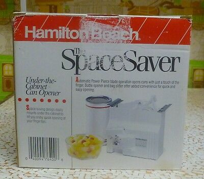 NEW/NIB Hamilton Beach 76400 Power Pierce Spacemaker Electric Can Opener - WHITE