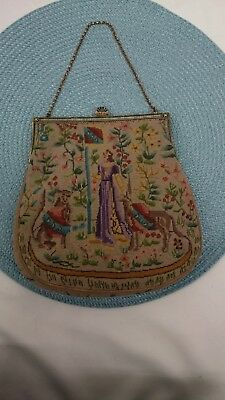 Very Fine Antique PETIT POINT Tapestry MEDIEVAL FIGURAL SEED PEARL PURSE