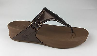 e481aec3c2b93 FITFLOP FLORA WOMENS Brown Flip Flops Sandals Wedge Heels Sz US 9 EU ...