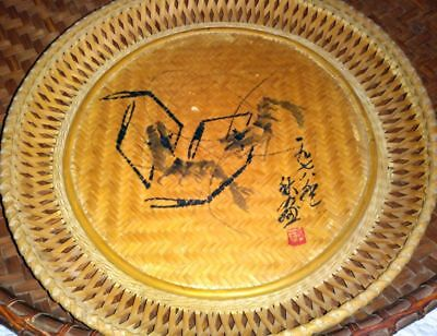 """Vintage Hand Painted 13"""" Asian Bamboo Tray, Oriental Decor Beautiful"""