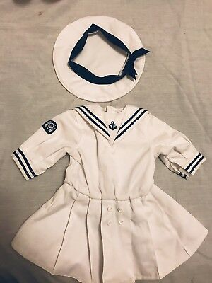 American Girl Doll Sailor Outfit Dress Hat Authentic Pleasant Company Free Ship!