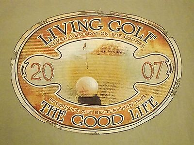 Living Golf The Good Life Golfing Golfer Newport Blue T Shirt L