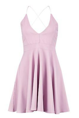 NWT BOOHOO WOMENS Eliza Strappy Plunge Neck Skater Dress Size 4 ... ecba5870a