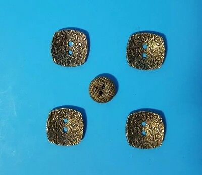 Vintage Button Goldtone Lot Of 6