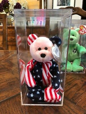 Ty Beanie Babies Collection - 1999 Pink Face Spangle Bear in Case - MINT