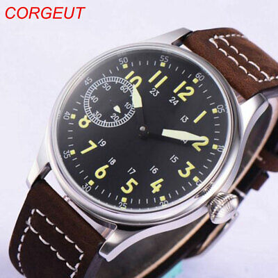 44mm Sterile Black Dial 17 Jewels 6497 Hand Winding Movement men's Wristwatches