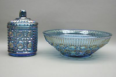 Vintage - Lot of 2 - Iridescent Indiana Blue Carnival Glass Candy Dish Dishes