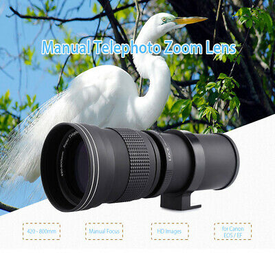 New 420 - 800MM Telephoto Manual Zoom Lens with Adapter for Canon EOS EF Camera