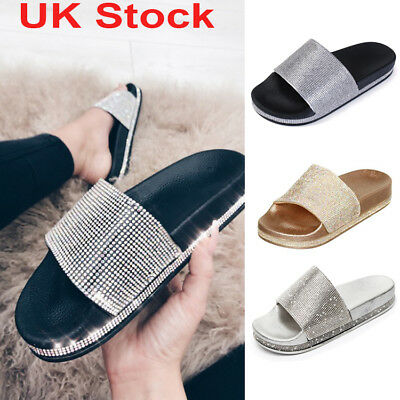 593b17ccf5d0 Womens Slip On Slides Bling Bling Sparkly Diamante Sliders Ladies Summer  Sandals