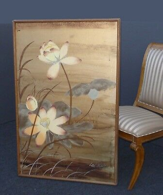 Vintage Original Gold Lotus Flower Oil Painting Picture  Signed by Lee Reynolds