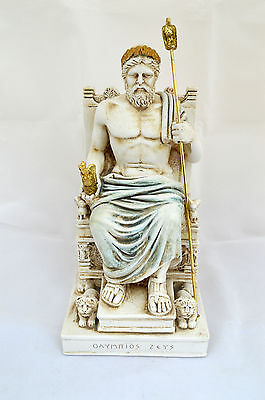 Ancient Greek Zeus God king leader of all 12 Gods sculpture Throne statue