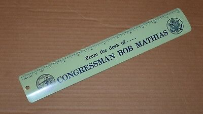 """From The Desk Of Congressman Bob Mathias"" 12 inch metal ruler 1960's 1970's"