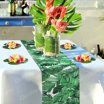 30*220 cm Cotton Palm Green Leaf Table Runners Hawaiian Luau Party Home Decor