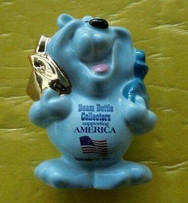 """Jim Beam """"america Bear"""" Figurine 2002 Limited Issue Supporting 9/11 Victims"""