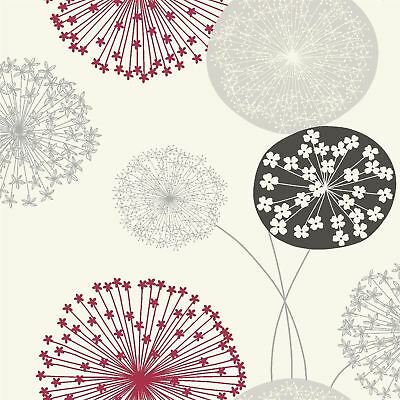 Large Dandelion Floral Wallpaper Flowers Cream Red Grey Black Feature Wall