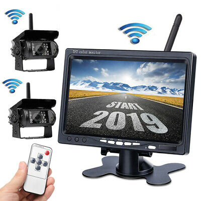 "2IR Wireless Rear View Back up Camera Night Vision + 7"" Monitor for RV Truck Bus"