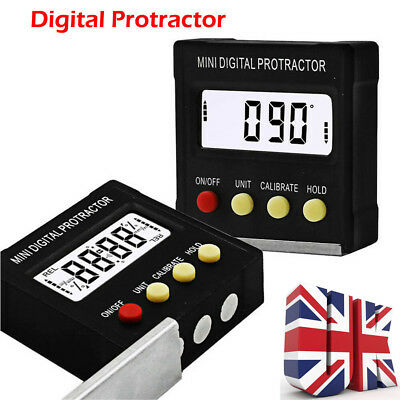 UK Cube Inclinometer Angle Gauge Meter Digital Protractor Electronic Level Box