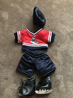 Build A Bear Ice Hockey Uniform/ Outfit Includes Skates & Helmet Navy Blue & Red